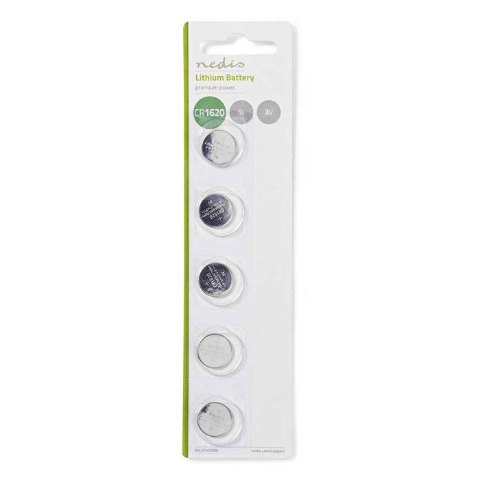 NEDIS BALCR16205BL Lithium Button Cell Battery CR1620, 3V, 5 pieces, Blister