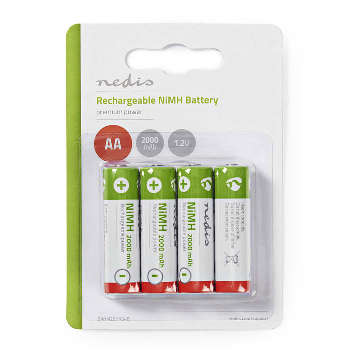 NEDIS BANM20HR64B Rechargeable Ni-MH Battery AA, 1.2V, 2000 mAh, 4 pieces, Blist