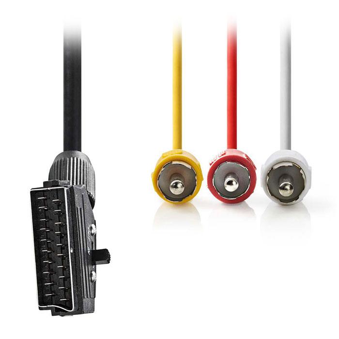 NEDIS CVGP31130BK20 Switchable SCART Cable, SCART Male - 3x RCA Male, 2m, Black
