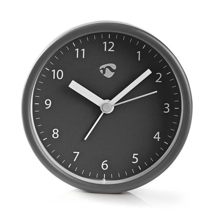 NEDIS CLDK006GY Analogue Desk Alarm Clock, Grey