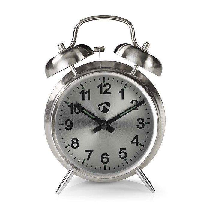 NEDIS CLDK007MT Analogue Desk Alarm Clock, Metal, Silver