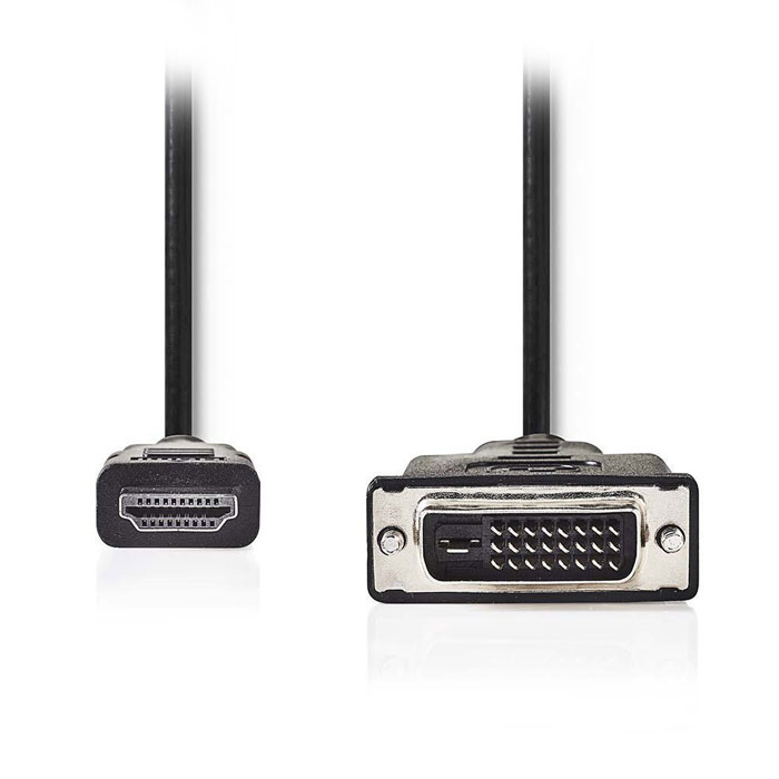 NEDIS CCGP34800BK20 HDMI - DVI Cable, HDMI Connector - DVI-D 24+1-Pin Male, 2m B