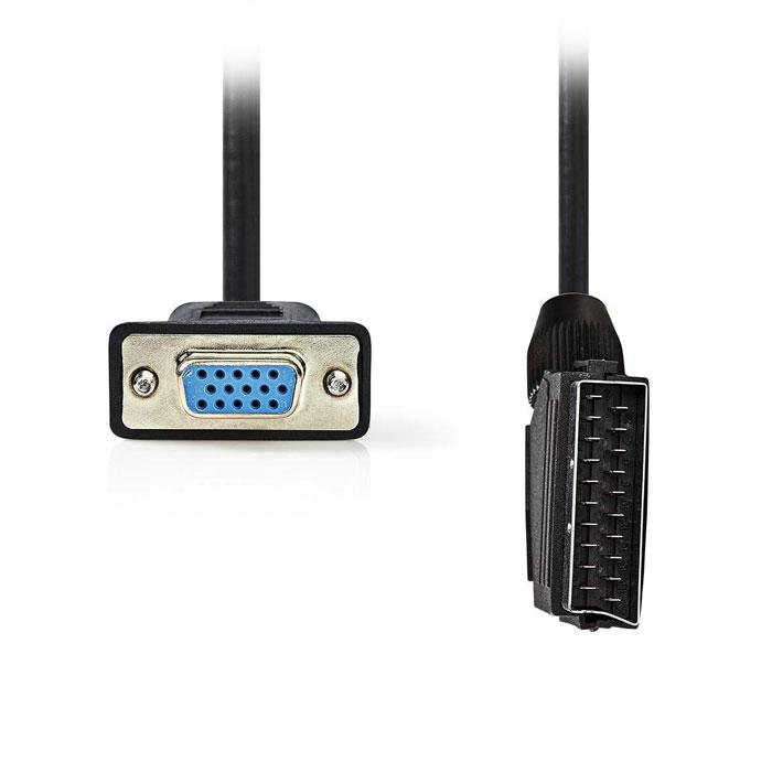 NEDIS CVGP31550BK20 SCART - VGA Cable, SCART Male - VGA Female, 2m, Black