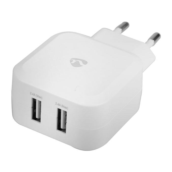 NEDIS WCHAU484AWT Wall Charger, 4.8A, 2-outputs, USB-A, White
