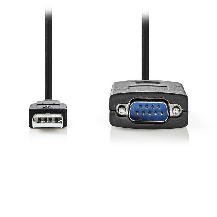 NEDIS CCGW60852BK09 Converter USB A male to RS232 male, USB 2.0,0.9 m cable