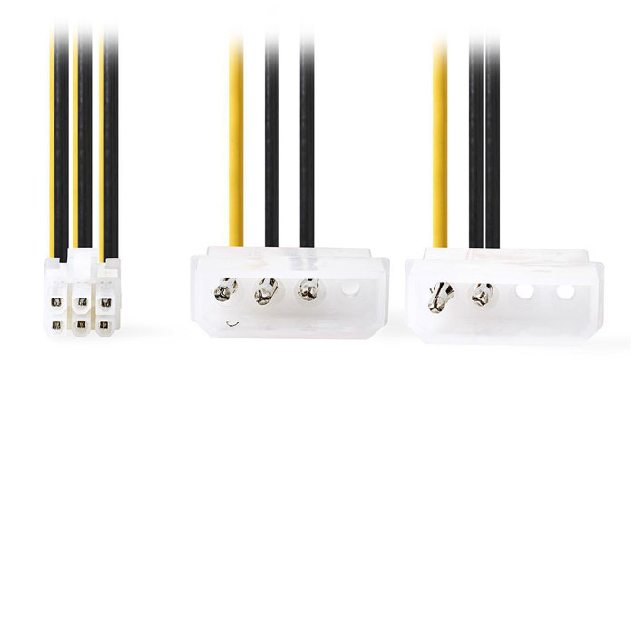NEDIS CCGP74210VA015 Internal Power Cable 2x Molex Male-PCI Express Female 0.15m