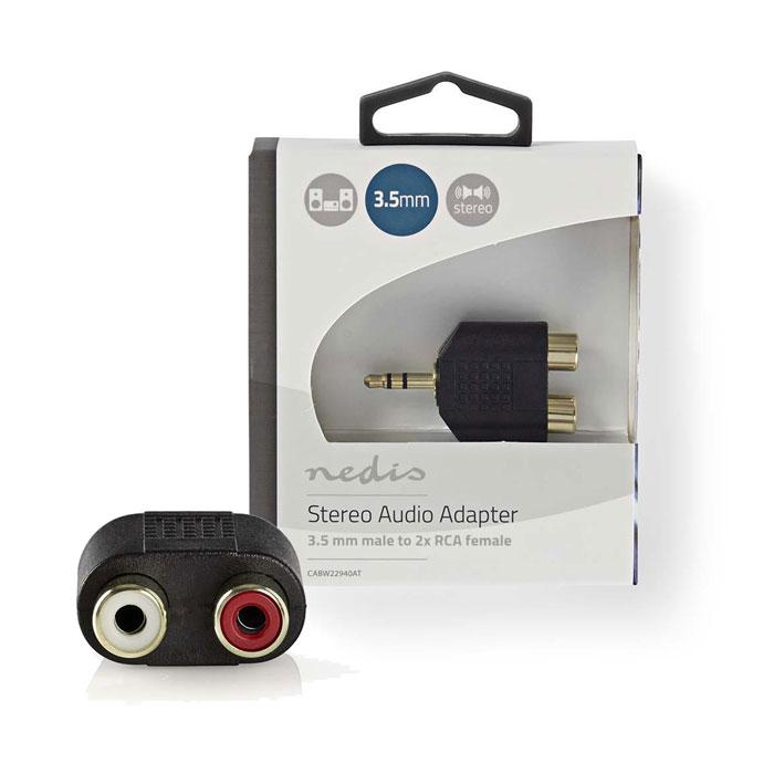 NEDIS CABW22940AT Stereo Αντάπτορας ήχου, 3.5mm αρσ. - 2x RCA θηλ. με Επίχρυσες επαφές