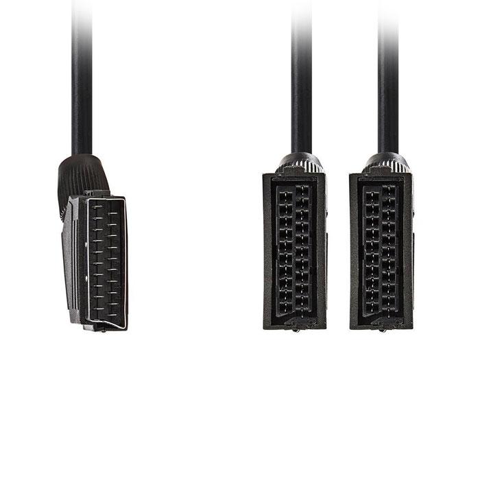 NEDIS CVGP31070BK02 SCART Cable SCART Male - 2x SCART Female 0.2 m Black