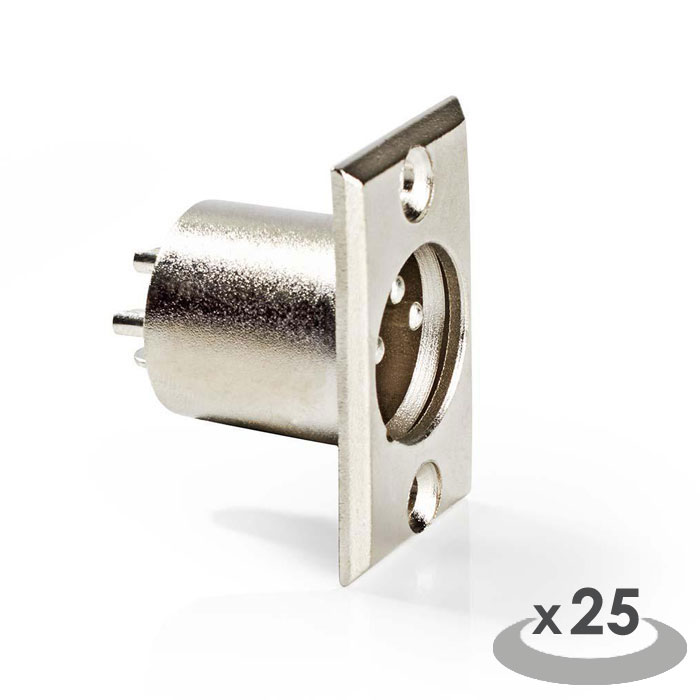 NEDIS CAVC15910ME XLR Chassis Mount XLR 3-pin Male 25 pieces Metal