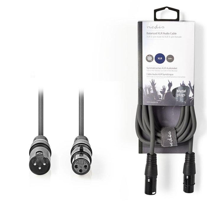 NEDIS COTH15010GY30 Balanced XLR Audio Cable XLR 3-Pin Male - XLR 3-Pin Female 3