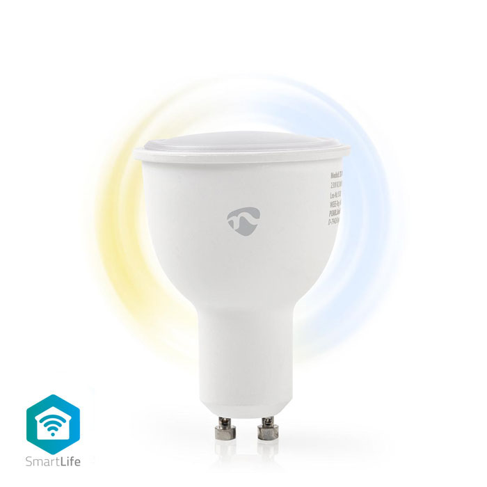 NEDIS WIFILW10WTGU10 WiFi Smart LED Bulb Warm to Cool White GU10