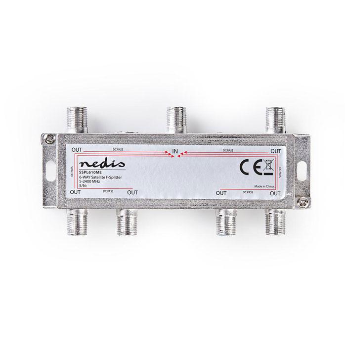 NEDIS SSPL610ME Satellite F-Splitter Max 17 dB gain 5 - 2400 MHz 6 Outputs