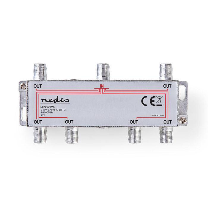 NEDIS SSPL600ME CATV F-Splitter Max 10 dB gain 5 - 1000 MHz 6 Outputs