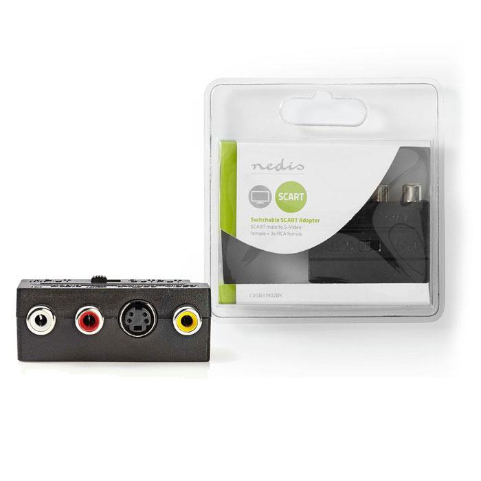 NEDIS CVGB31902BK Switchable SCART Adapter SCART Male - S-Video Female + 3x RCA