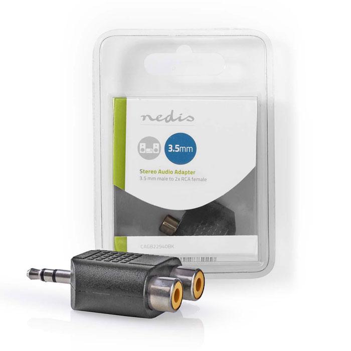 NEDIS CAGB22940BK Stereo Αντάπτορας ήχου, 3.5mm αρσ. - 2x RCA θηλ