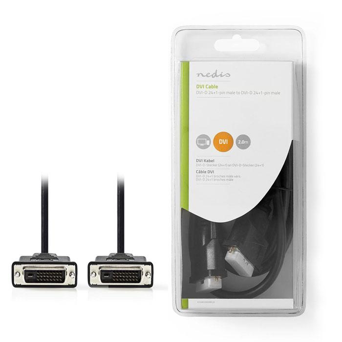 NEDIS CCGB32000BK20 DVI Cable DVI-D 24+1-Pin Male - DVI-D 24+1-Pin Male 2.0 m Bl