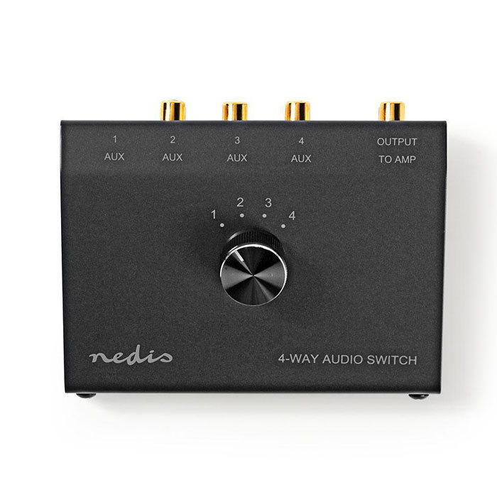 NEDIS ASWI2404BK Analogue Audio Switch 3.5 mm Female + 3x (2x RCA Female) - 2x R