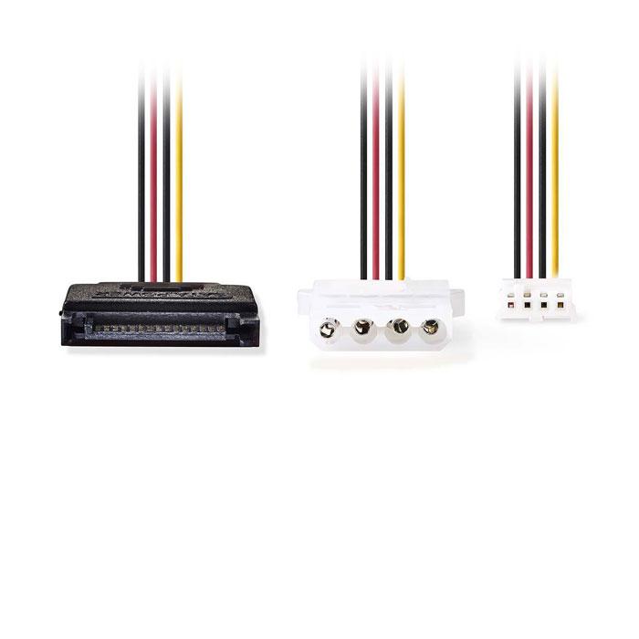 NEDIS CCGP73550VA015 Internal Power Cable SATA 15-pin Male - Molex Female + FDD
