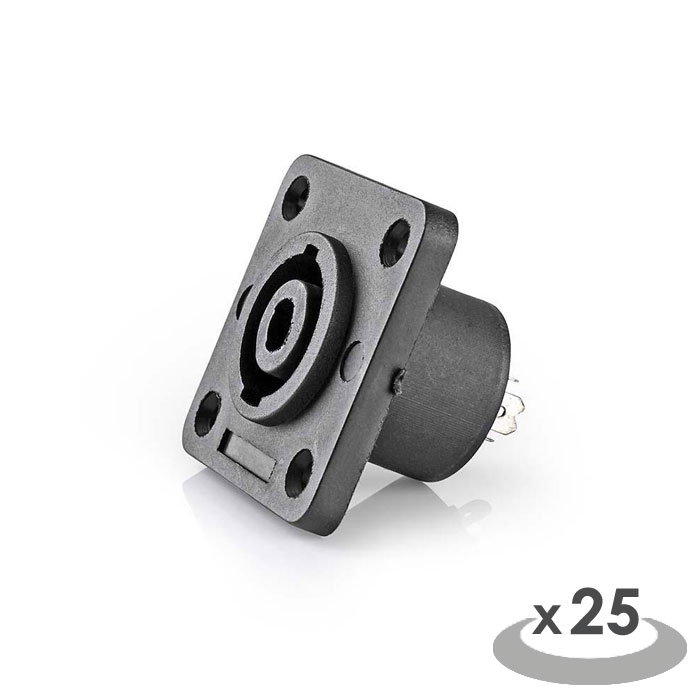 NEDIS CAVC16902BK Speaker Connector Speaker 4-pin Female 25 pieces Square Black