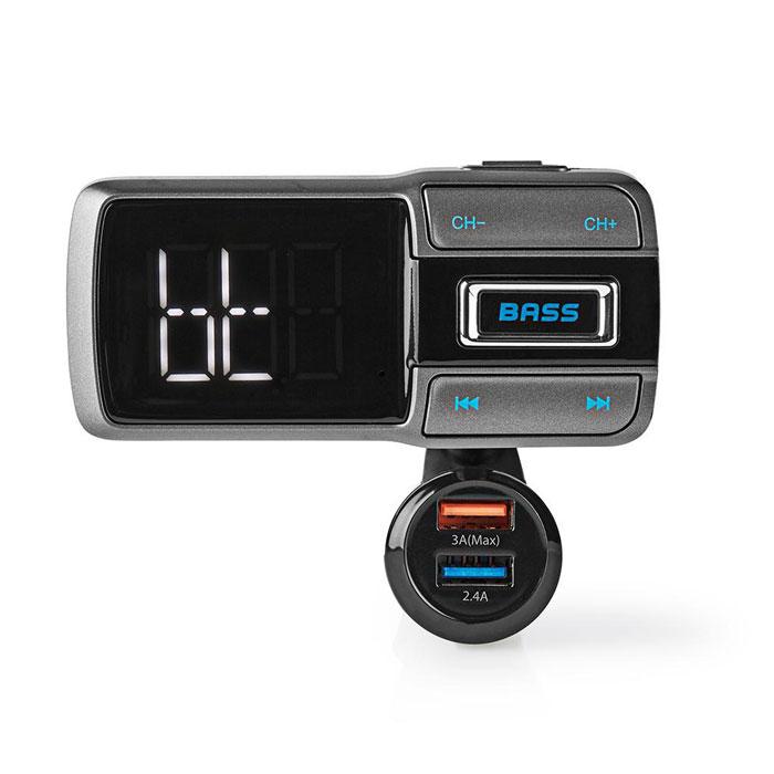 NEDIS CATR101BK Car FM Transmitter Bluetooth Bass Boost MicroSD Card Slot Hands-