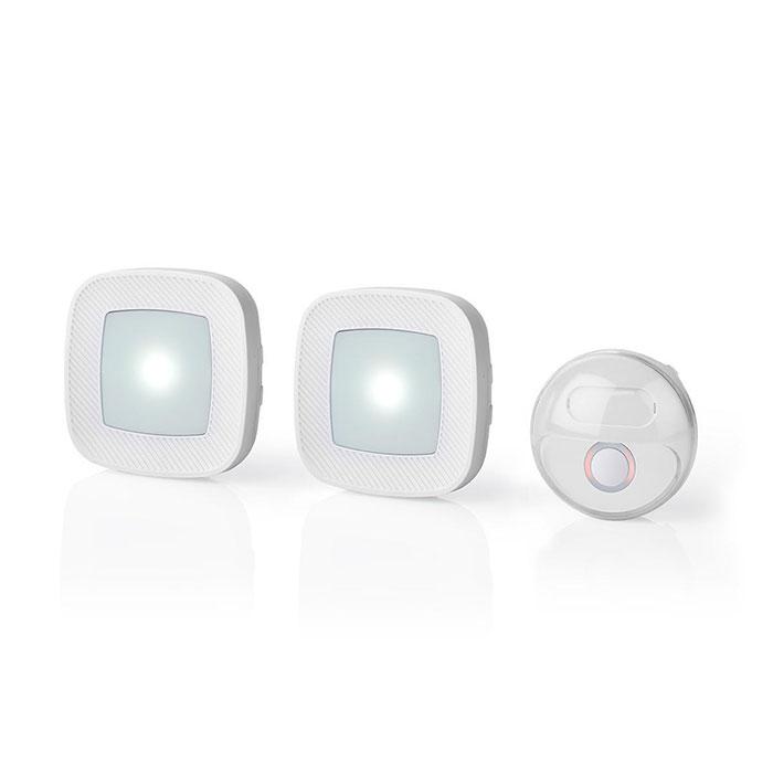 NEDIS DOORB220CWT2 Wireless Doorbell Set | Mains Powered 36 Melodies Bright flas