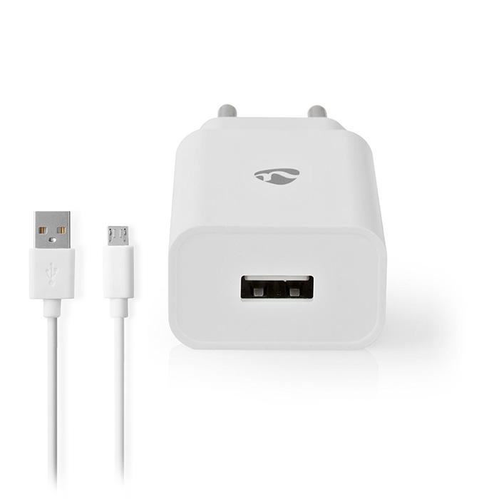 NEDIS WCHAM212AWT Wall Charger 1x 2.1A Port type: 1x USB-A Micro USB (Loose) Cab