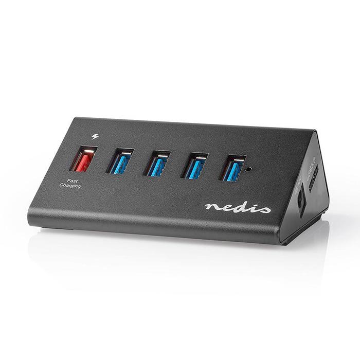 NEDIS UHUBUP3510BK USB Hub 5-Port QC3.0/USB 3.2 Gen1 Mains Powered/USB Powered 5