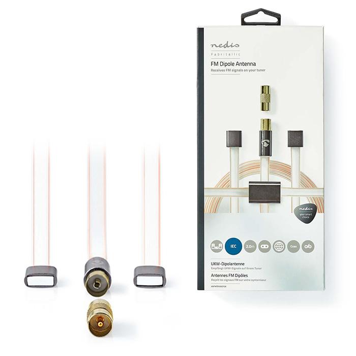 NEDIS ANFMTB105GY20 FM Dipole Antenna Set IEC (Coax) + Coax Adapter male - male