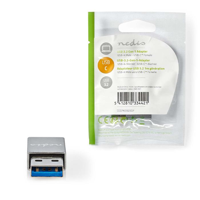 NEDIS CCGP60925GY USB Adapter USB 3.2 Gen 1 USB-A Male USB Type-C Female Nickel