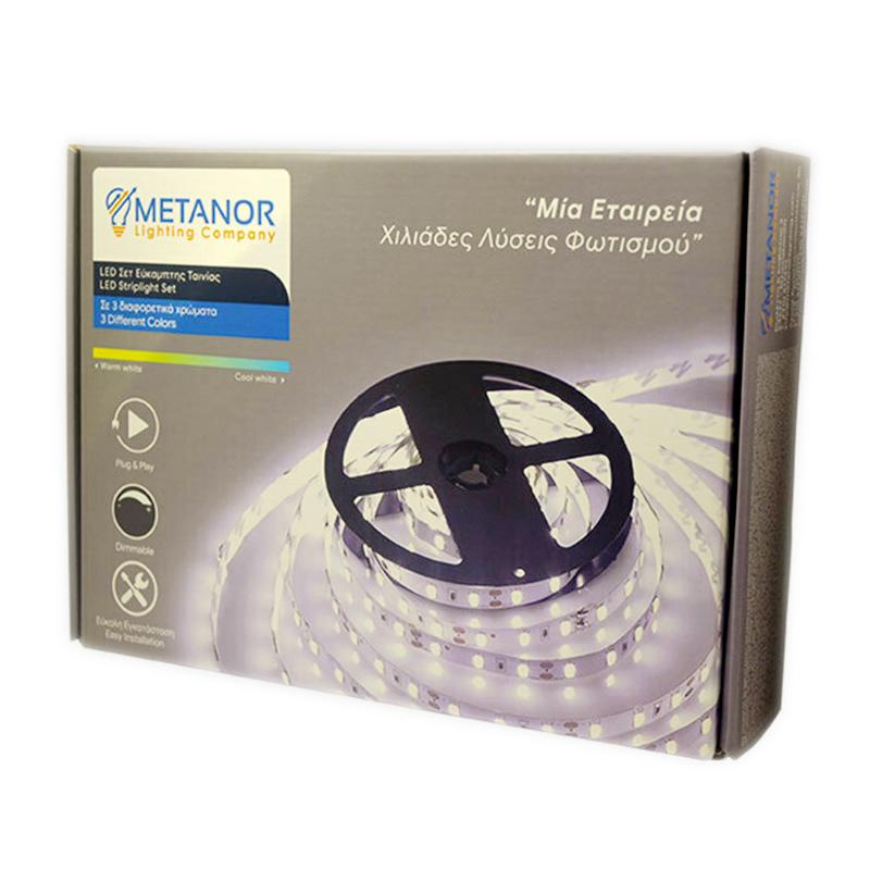 METANOR MTN-4126 Ταινία LED Σετ με Τηλεχειριστήριο RGB 5m Ψυχρό Λευκό