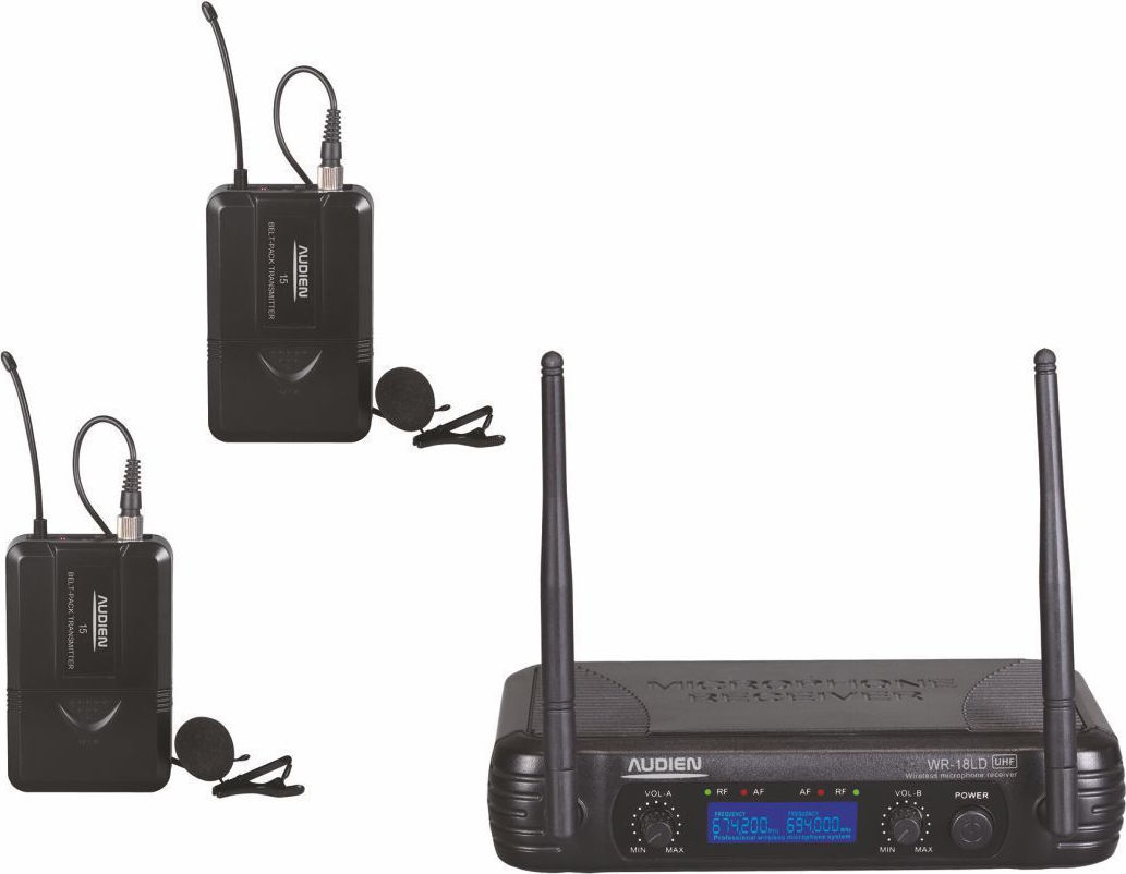 Audien WR-18LD-D Σετ 2 Ασύρματων UHF Μικροφώνων Πέτου