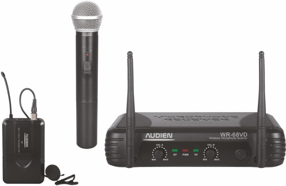 Audien WR-68VD-C Σετ 2 Ασύρματων VHF Μικροφώνων Πέτου & Χειρός