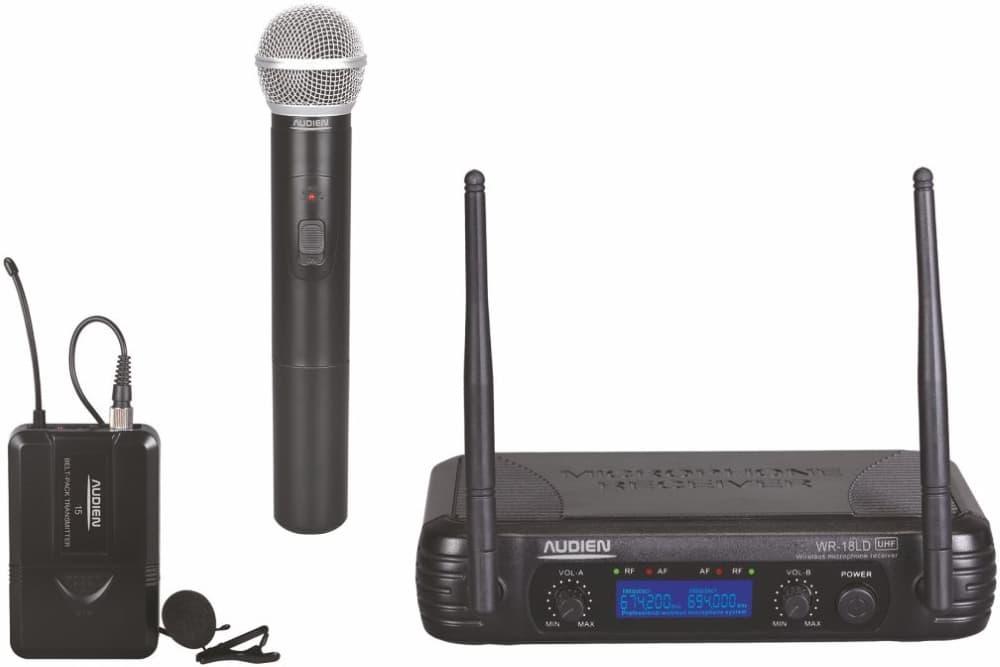 Audien WR-18LD-C Σετ 2 Ασύρματων UHF Μικροφώνων Πέτου & Χειρός