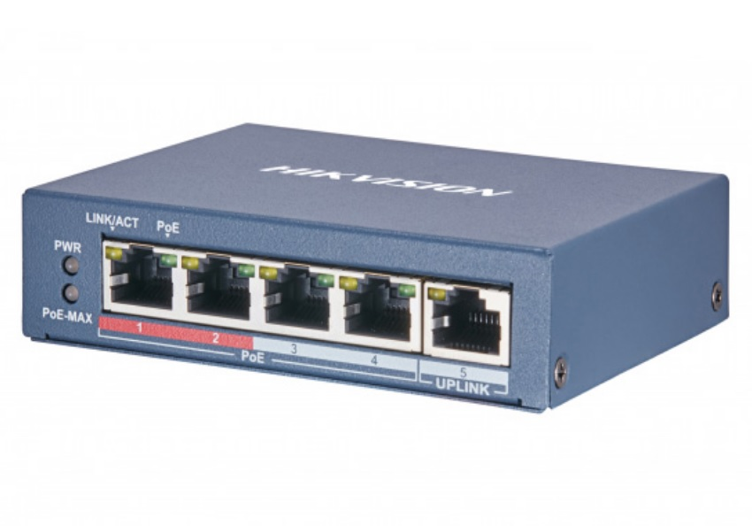 Hikvision DS-3E0105P-E(B) 5 Ports Unmanaged PoE Switch 802.3af/at 60W Max