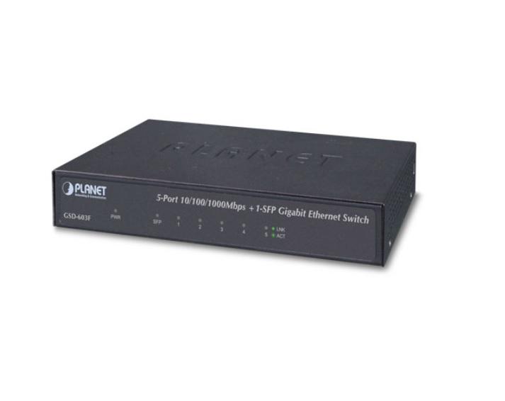 PLANET GSD-603F 5-Port 10/100/1000T +1-Port 1000X SFP Gigabit Ethernet Switch
