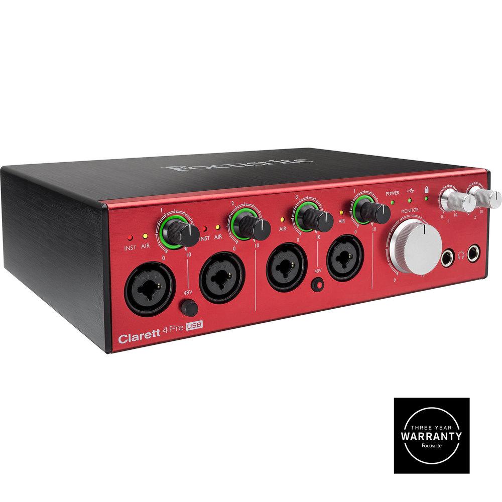 FOCUSRITE CLARETT 4 PRE USB  AUDIO MIDI INTERFACE
