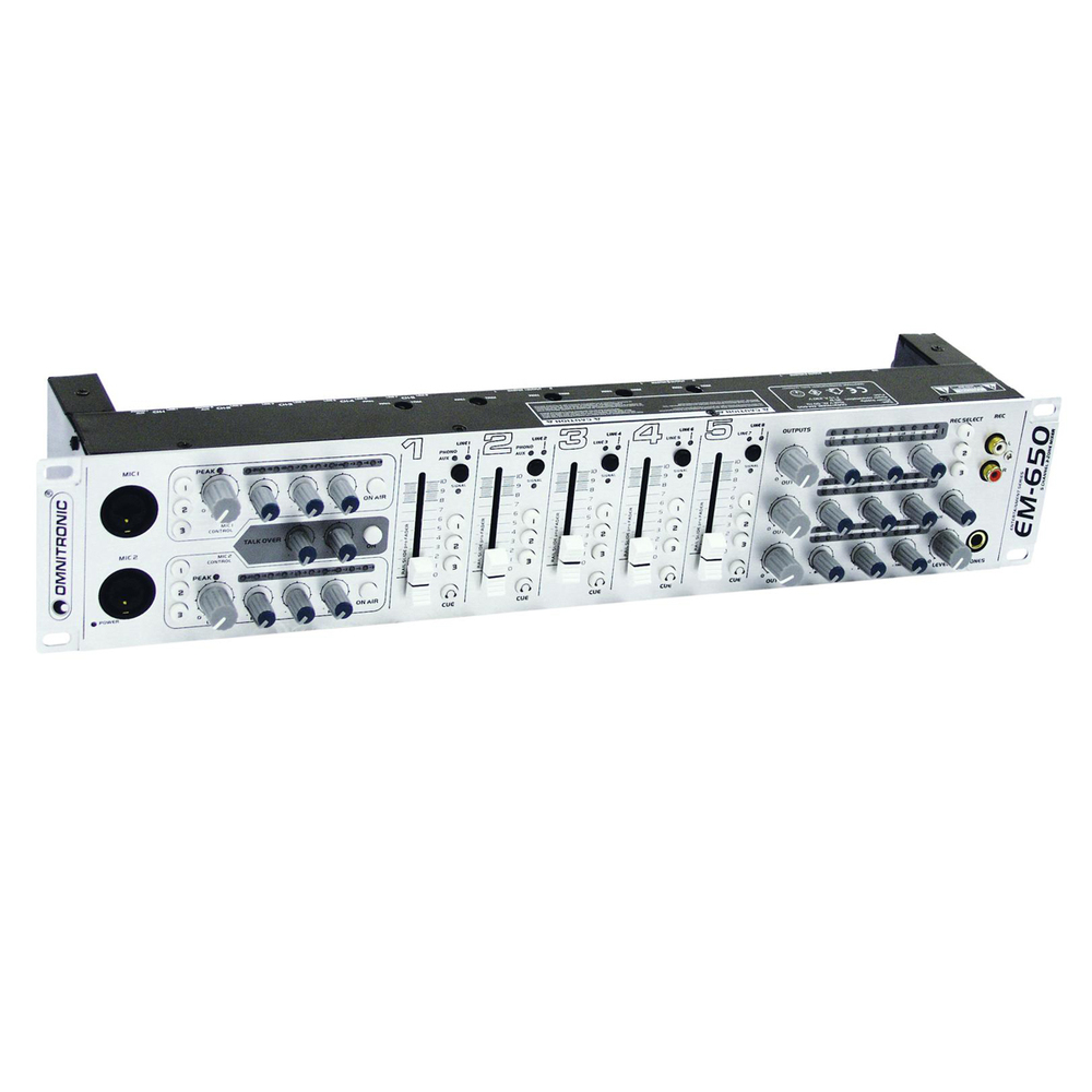OMNITRONIC EM-650 ZONE MIXER 5CH/2MIC/10IN/3OUT