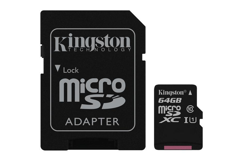 Kingston, SDC10G2/64GB, microSDXC 64GB, Class 10, U1 με Αντάπτορα (45MB/s)