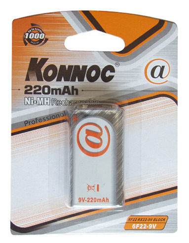 Konnoc, 6F22-9V, NIMH-220mA. Επαναφορτιζόμενες μπαταρίες