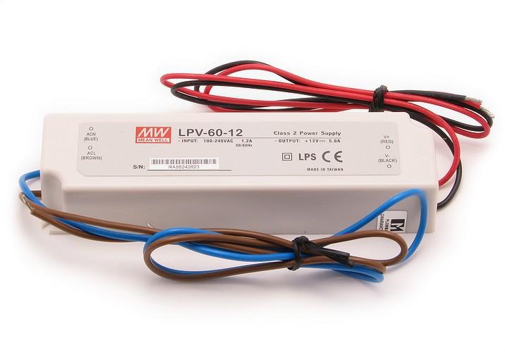 Mean Well LPV60-12 Τροφοδοτικό αδιάβροχο IP67, 12V, 5A, 60W