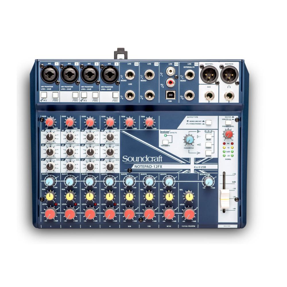 SOUNDCRAFT NOTEPAD-12FX SMALL MIXER 12 MONO MIC/LINE INPUTS