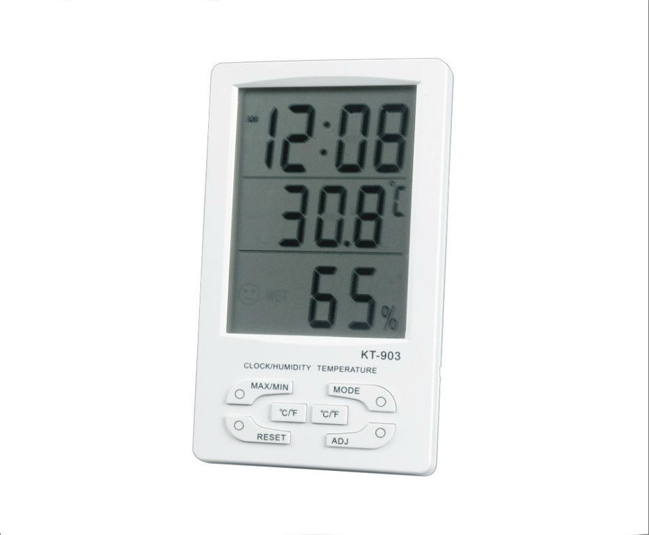 OEM KT-903 Ψηφιακό θερμόμετρο & υγρόμετρο με ημ/γιο & ξυπνητήρι