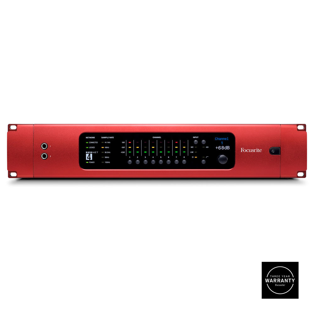 FOCUSRITE-PRO REDNET 4 INTERFACE WITH 8 MICROPHONE PREAMS/LINE INPUTS