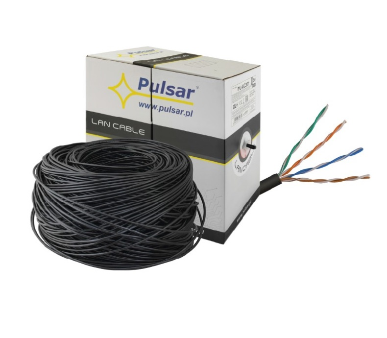PULSAR PU-NC301 Καλώδιο UTP Cat 5E Εξωτερικού Χώρου, Καθαρού χαλκού, Περίβλημα PE, Στροφείο 305m