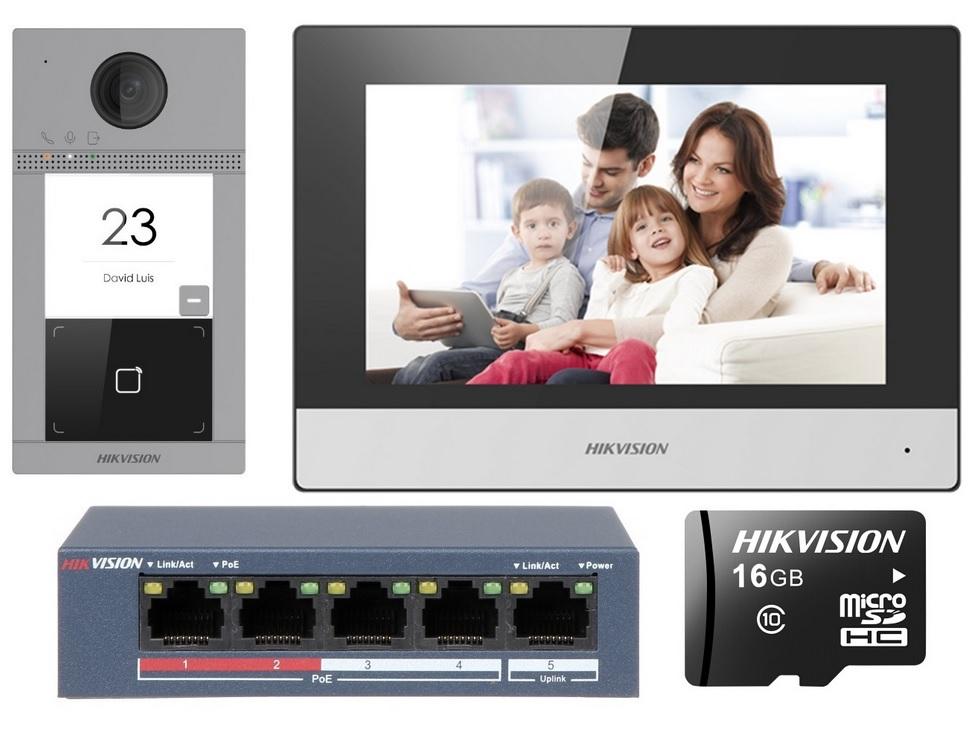 Hikvision DS-KIS604-S Έγχρωμο Κιτ Θυροτηλεόρασης IP με Mifare Card Reader
