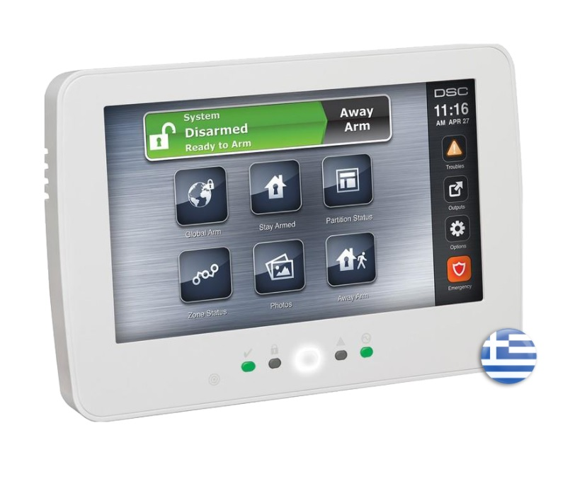 DSC POWERSERIES PRO HS2TCHPRO Ενσύρματο Πληκτρολόγιο Αφής με Έγχρωμη Οθόνη 7 inch & Ελληνικό μενού