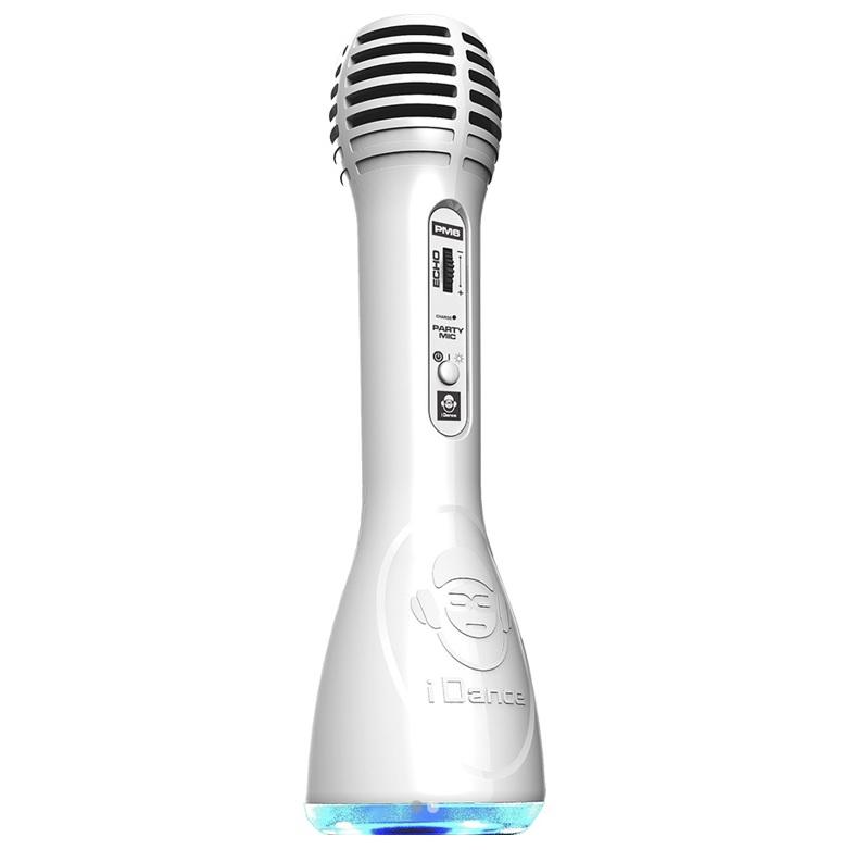 iDance Party Mic PM-6 White με Bluetooth, Ενσωματωμένο Ηχείο Karaoke και Φωτορυθμικό