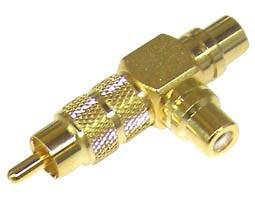 Ultimax, RA3140G, Αντάπτορας RCA Επιχρυσος Αρσενικό σε 2 x RCA Θηλυκά (Τ)