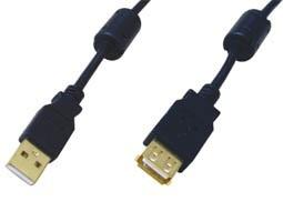 Comp, HM5002, Καλώδιο USB A/A M/F 5m. μαύρο με επίχρυσες επαφές & φερρίτες
